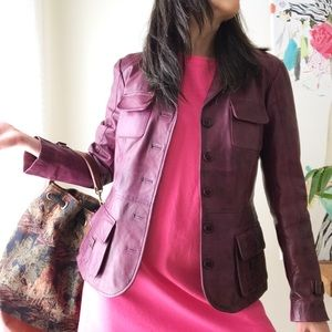 Genuine leather purple Danier blazer